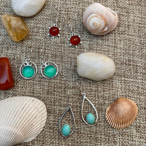 Carnelian Cabochon Earrings