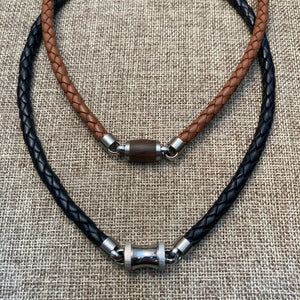 Brown Leather, Wood & Steel Necklace