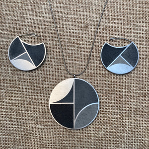 Concrete Medallion Necklace & Hoops