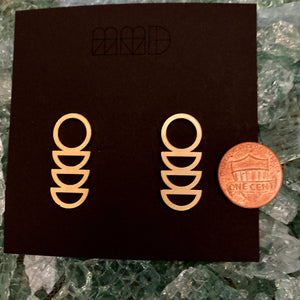 Gold Plated Post Geometric Earrings