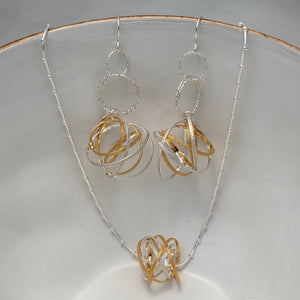Large Mobius Mixed Metal Earrings