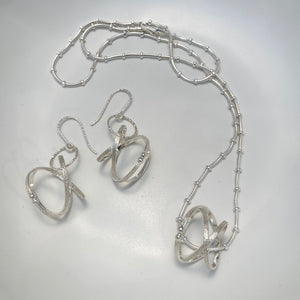 Mobius Sterling Silver Necklace & Earrings