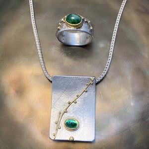 Green Tourmaline Necklace & Rings