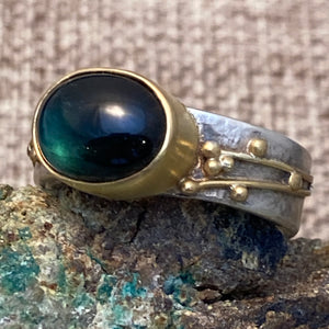 Deep Green Tourmaline Ring