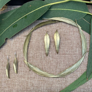 Curling Eucalyptus Leaf Earrings