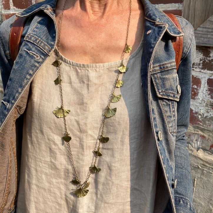 Long Ginkgo Necklace & Earrings