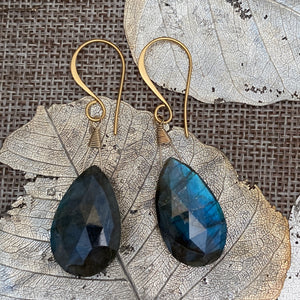 Labradorite Statement Earrings in Gold Vermeil
