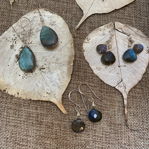 Labradorite Double Stone Earrings in Silver