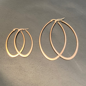 Rose Gold Plated Steel Oval Hoops