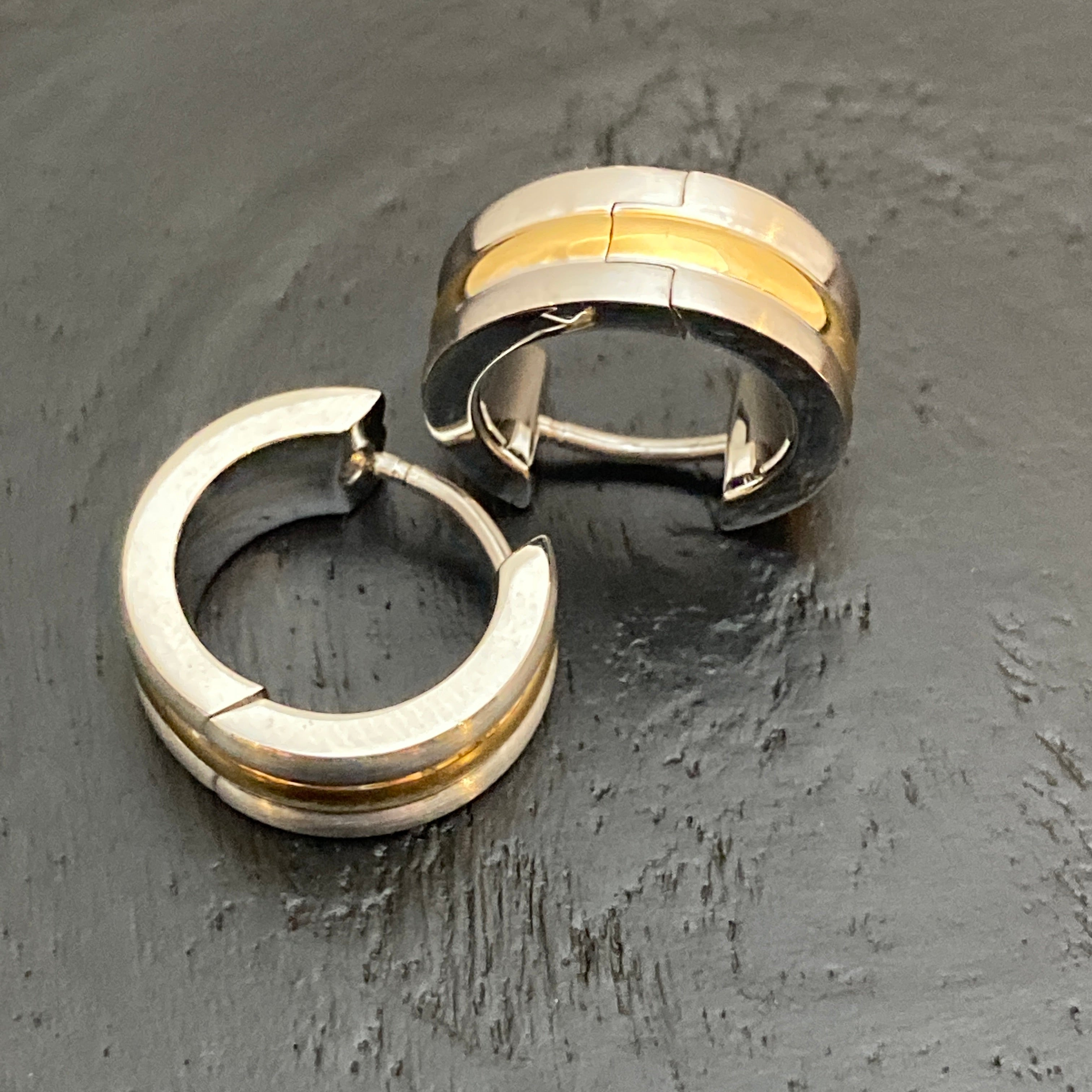 Mixed Metal Huggy Steel Hoops