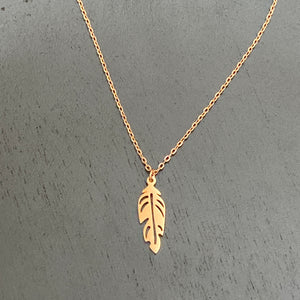 Feather Gold Plated Steel Necklace