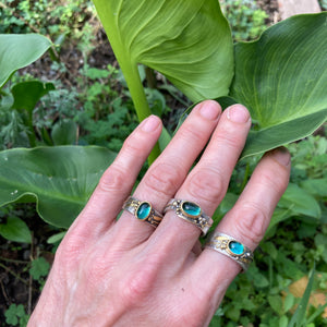 Freeform Blue-Green Tourmaline Ring