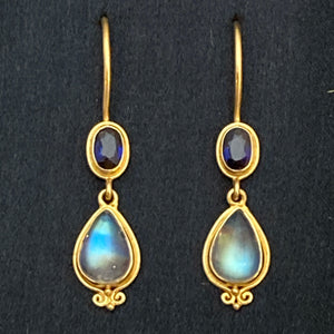 18k Gold Sapphire & Blue Moonstone Post Drop Earrings