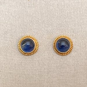 18k Gold Sapphire Post Earrings