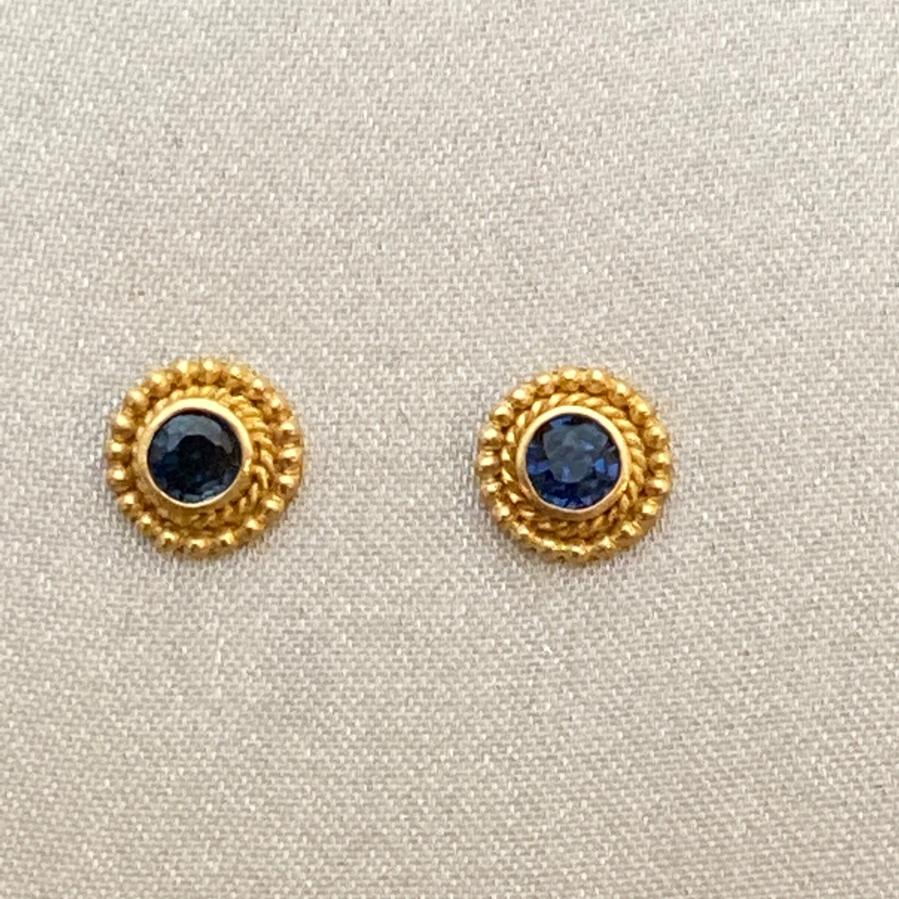 Faceted Sapphire 18k Gold Post Earrings