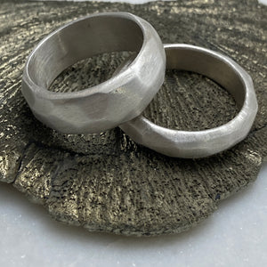 Faceted Silver Bands