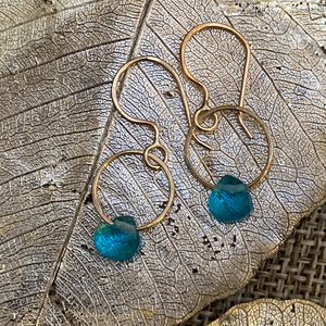 Single Gemstone Circle Earrings in Gold Fill