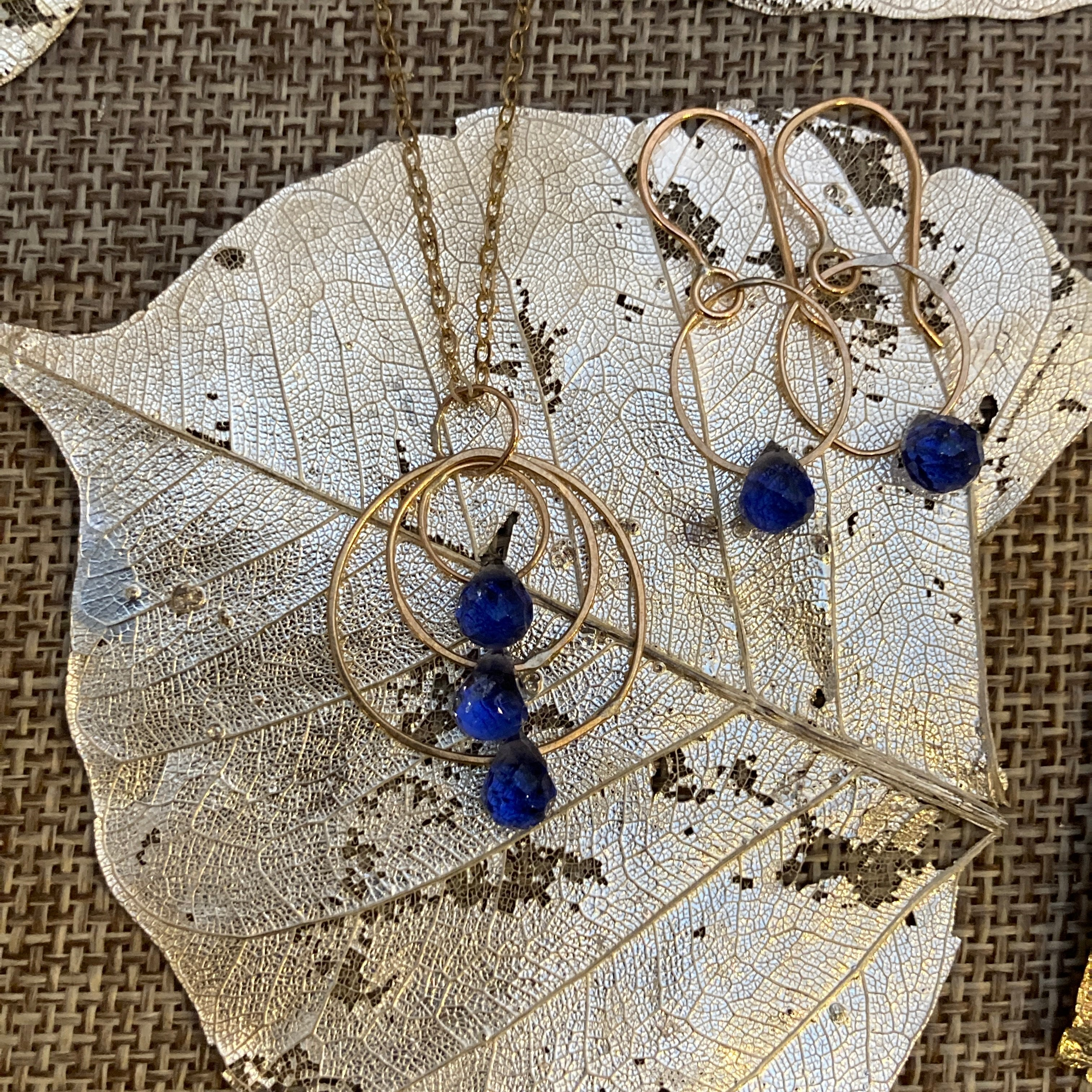 Iolite Necklace & Earrings in Gold Fill