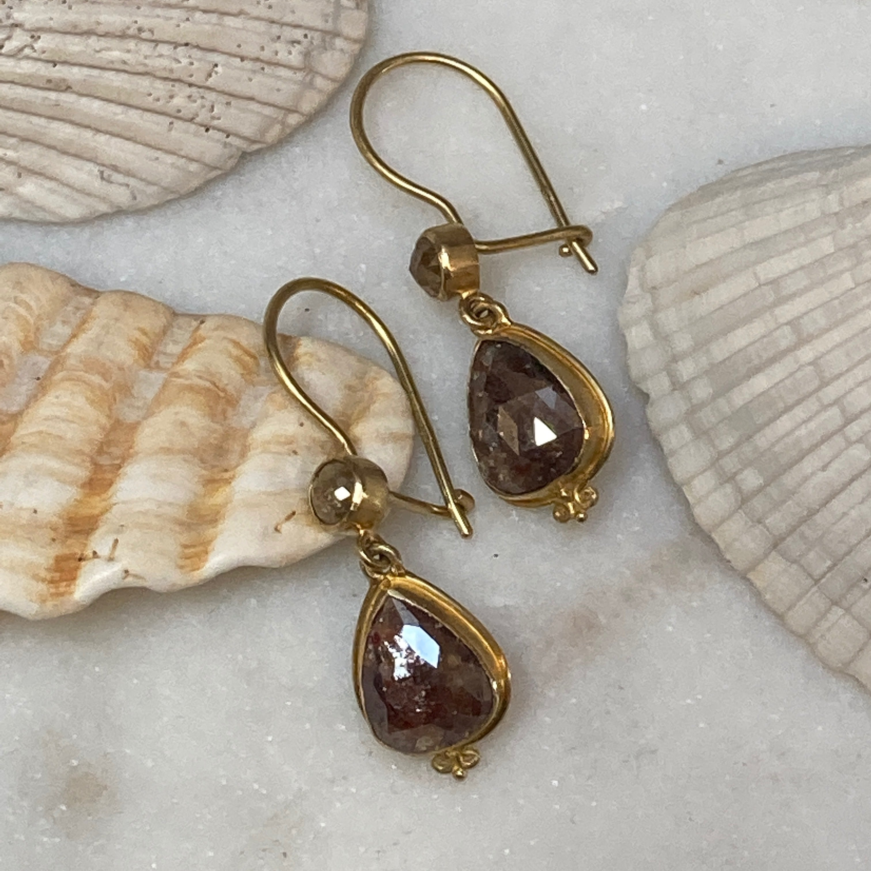 18k Gold Chocolate Diamond Earrings