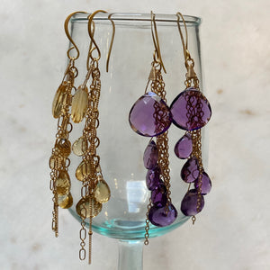 Butterfly Earrings & Amethyst Strand Necklace