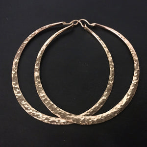 Hammered Hoops in Gold Fill