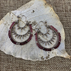 Garnet Hoop Earrings