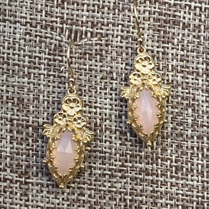 Marquise Fiori Rose Quartz Earrings