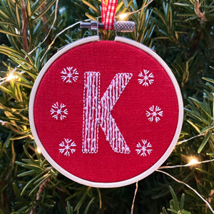 Embroidered Letter Personalised Christmas Decoration (Red)