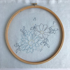 'Endless Spring' Duck Egg Floral Embroidery Kit