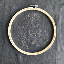 Load image into Gallery viewer, Grey Floral Embroidery Kit