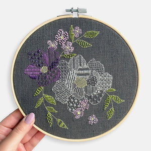 Grey Floral Embroidery Kit