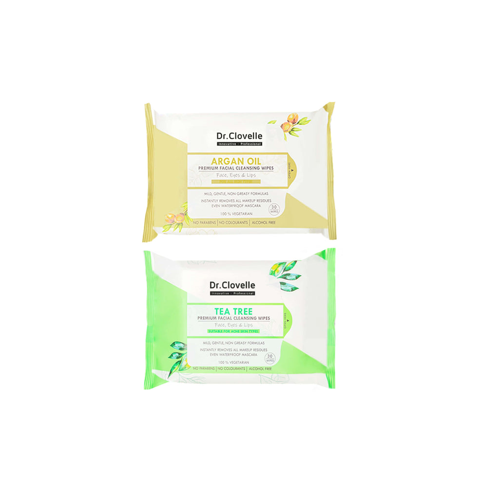 Dr.Clovelle Premium Facial Cleansing Wipes - Argan Oil x 1 + Tea Tree x 1