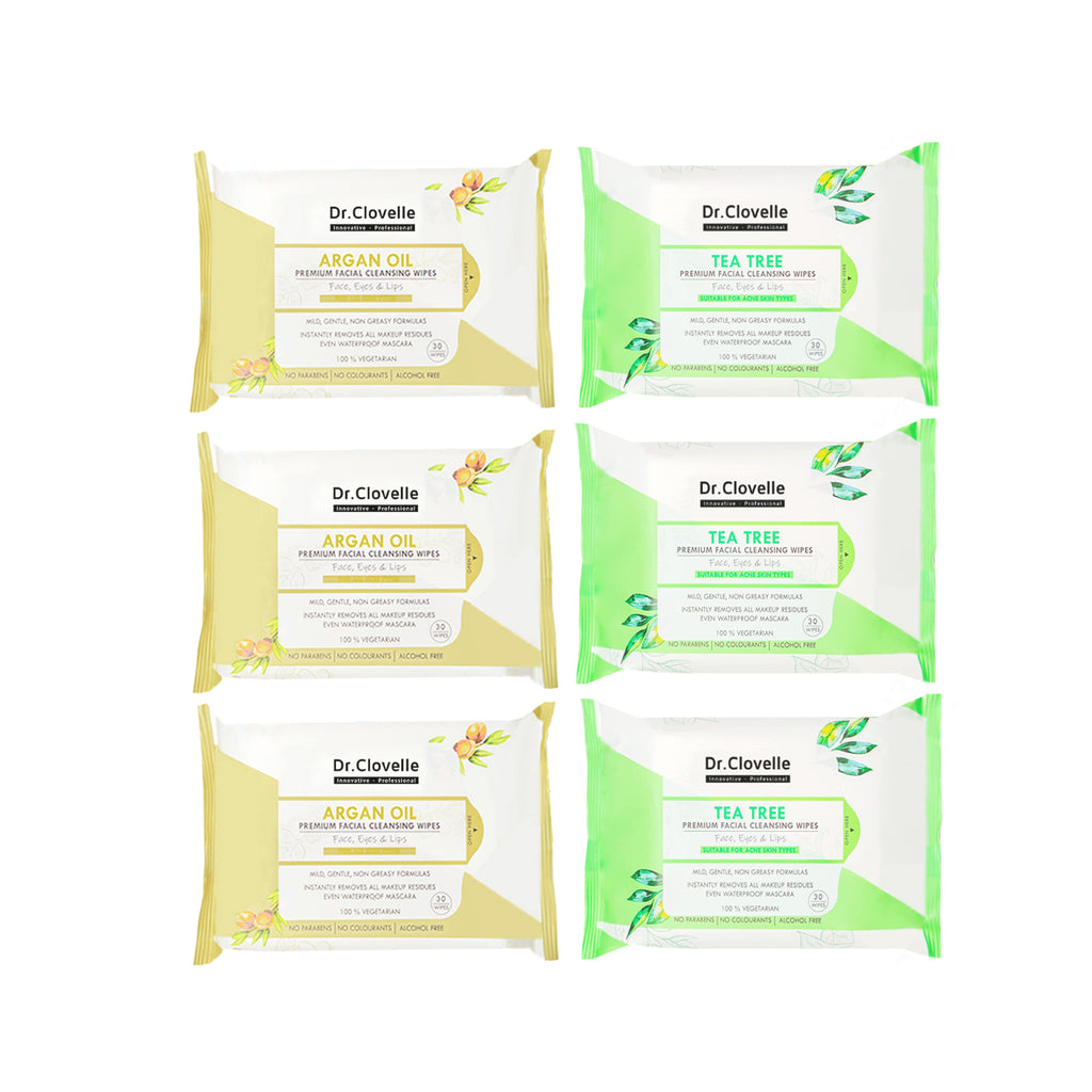 Dr.Clovelle Premium Facial Cleansing Wipes - Argan Oil x 3 + Tea Tree x 3