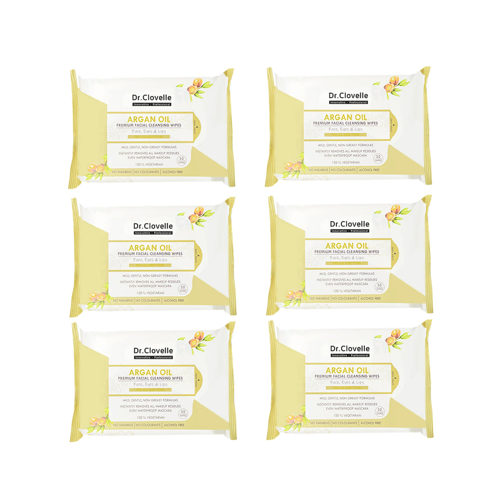 Dr.Clovelle Premium Facial Cleansing Wipes - Argan Oil x 6