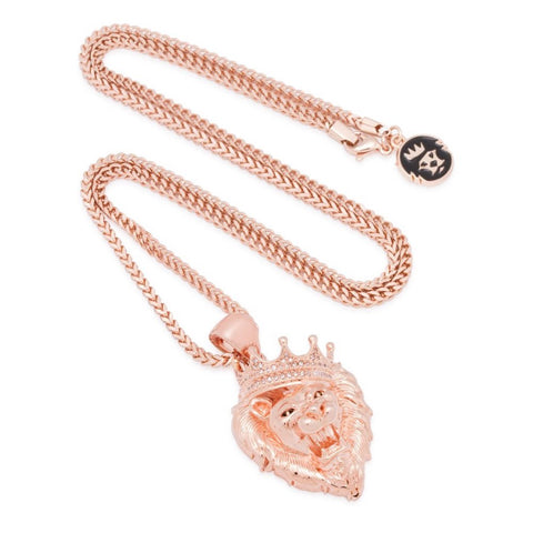 King Ice Roaring Lion Stone Rose Gold Necklace