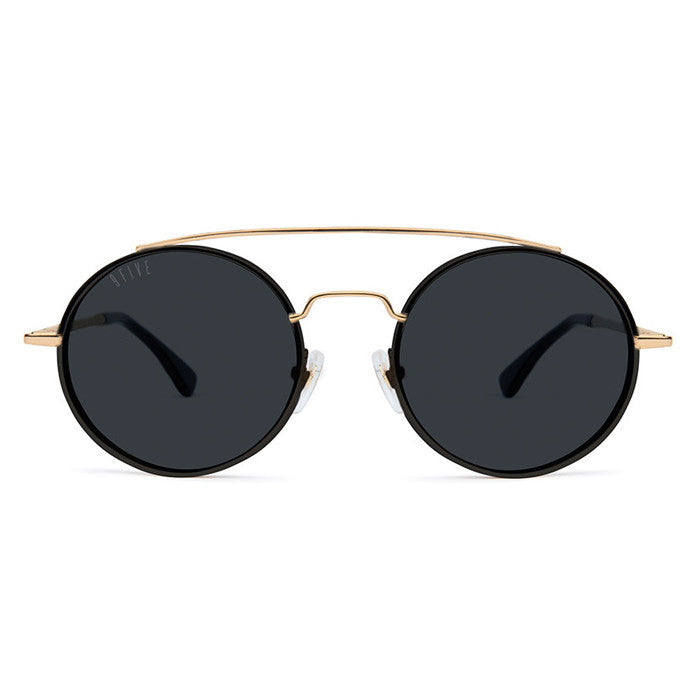 9Five 50-50 Black & 24K Gold Sunglasses