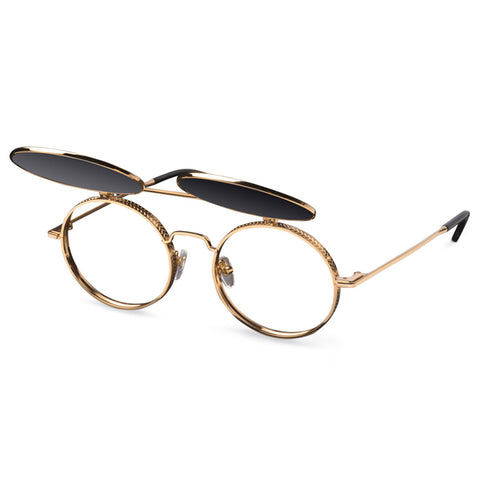 9Five 50-50 24K Gold Flip Up Sunglasses