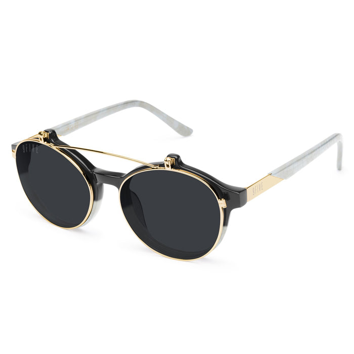 9Five Lane Marble 24K Gold Flip Up Sunglasses