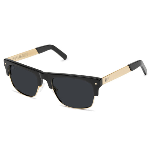 9Five Watson II Black 24K Gold Sunglasses