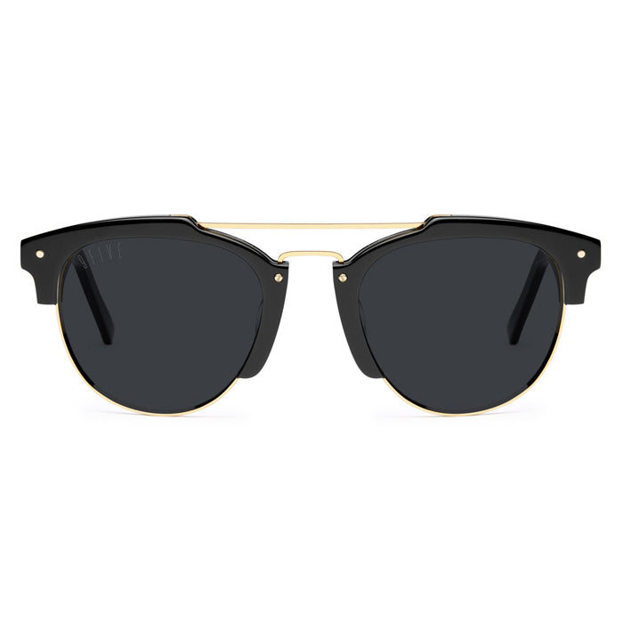 9Five Del Rey Black 24K Gold Sunglasses