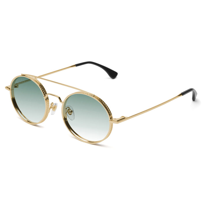 9Five 50-50 24K Gold & Green Sunglasses