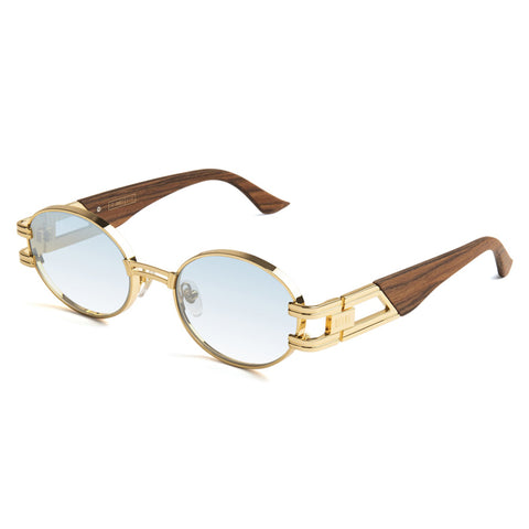 9Five St. James Wood 24K Gold Blue Sunglasses