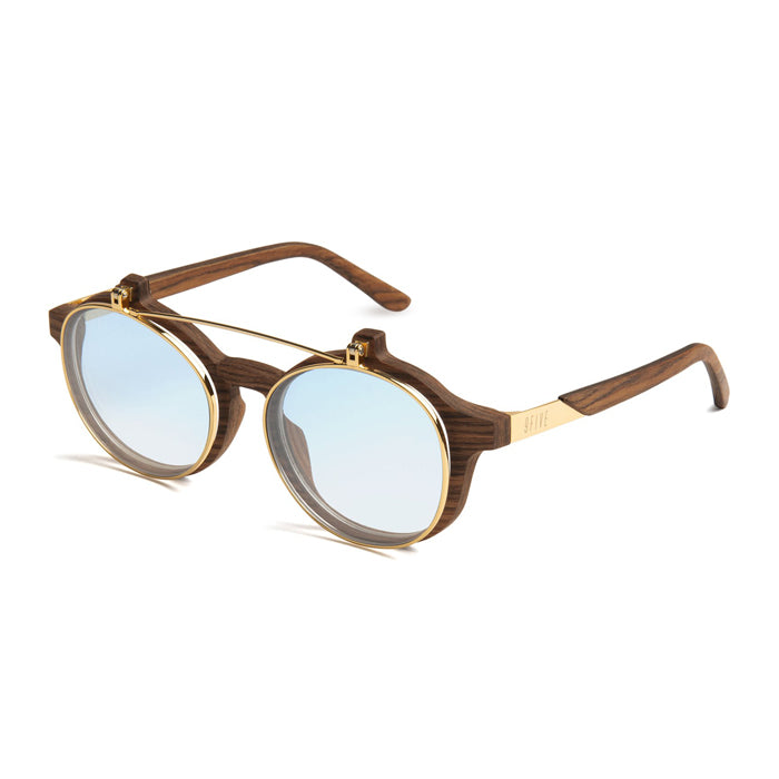 9Five Lane Wood 24K Gold Flip Up Blue Sunglasses