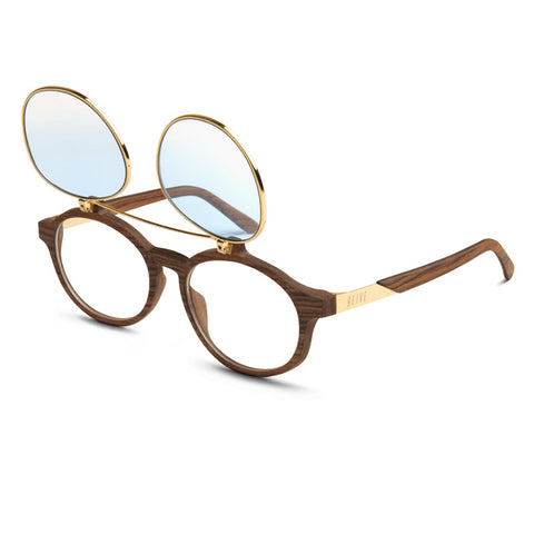 9Five Lane Wood 24K Gold Flip Up Gradient Sunglasses