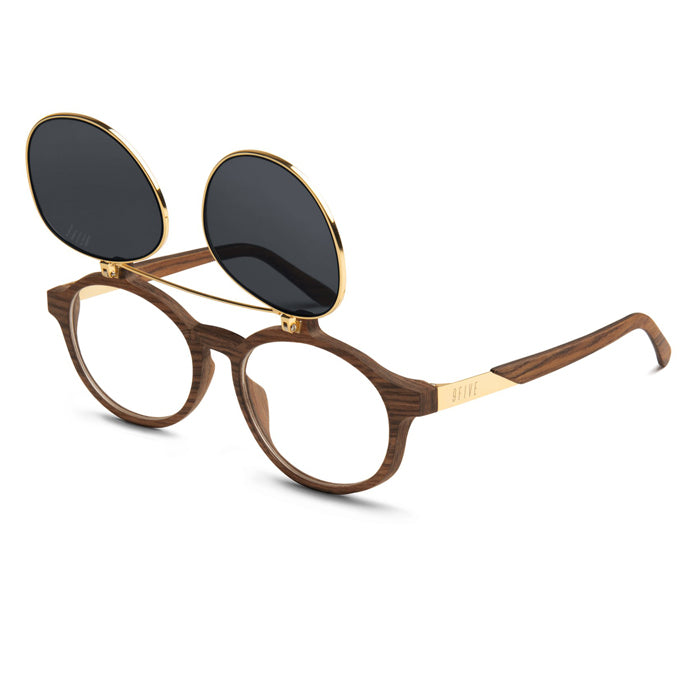 9Five Lane Wood 24K Gold Flip Up Sunglasses