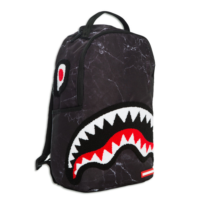 Sprayground Chenille Black Marble Shark Backpack – Beyond ...