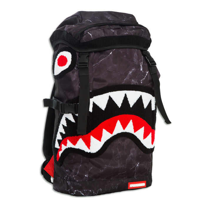 Sprayground Chenille Black Marble Shark Top Loader