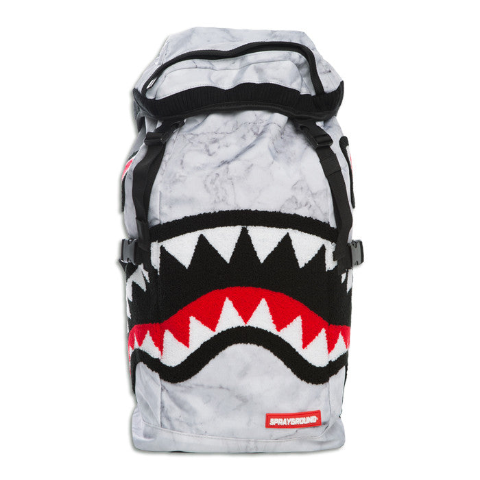 Sprayground Chenille White Marble Shark Top Loader