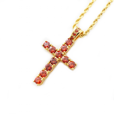 Veritas Remus Ruby Cross Necklace