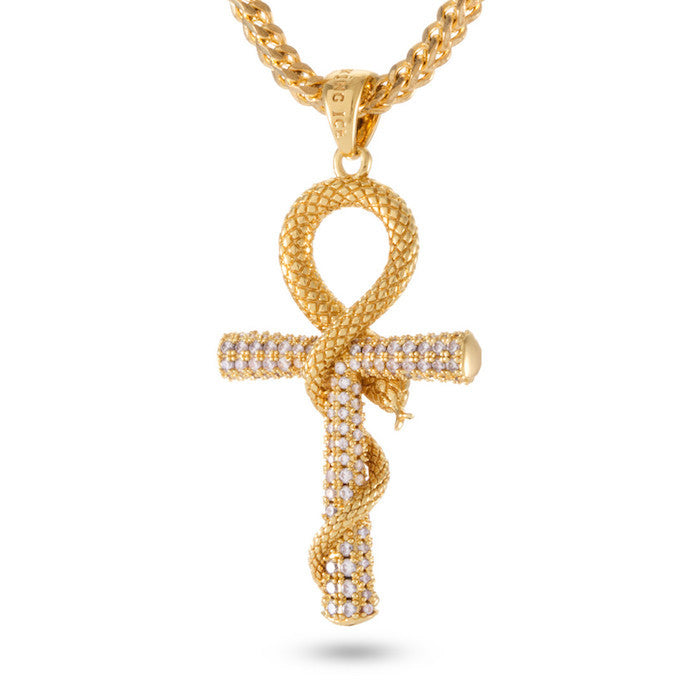 King Ice Ankh Cross Necklace